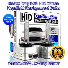 D3S heavy Duty 6000K HID Xenon Replacement Bulbs Non-Mercury (Pack of 2)