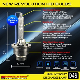 ProGear Tech Heavy Duty D4S D4R 10000K Brilliant HID Xenon Headlight Replacement Bulbs (Pack of 2)