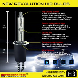 55W H3 Heavy Duty HID Xenon Replacement Bulbs (Pack of 2)