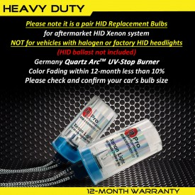 55W H7 Heavy Duty HID Xenon Replacement Bulbs (Pack of 2)