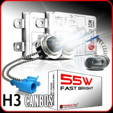 55W H3 Heavy Duty Fast Bright CANBUS AC HID Xenon Conversion Kit No OBC Error