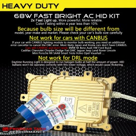 68W H3 Heavy Duty Fast Bright AC Digital HID Xenon Conversion Kit