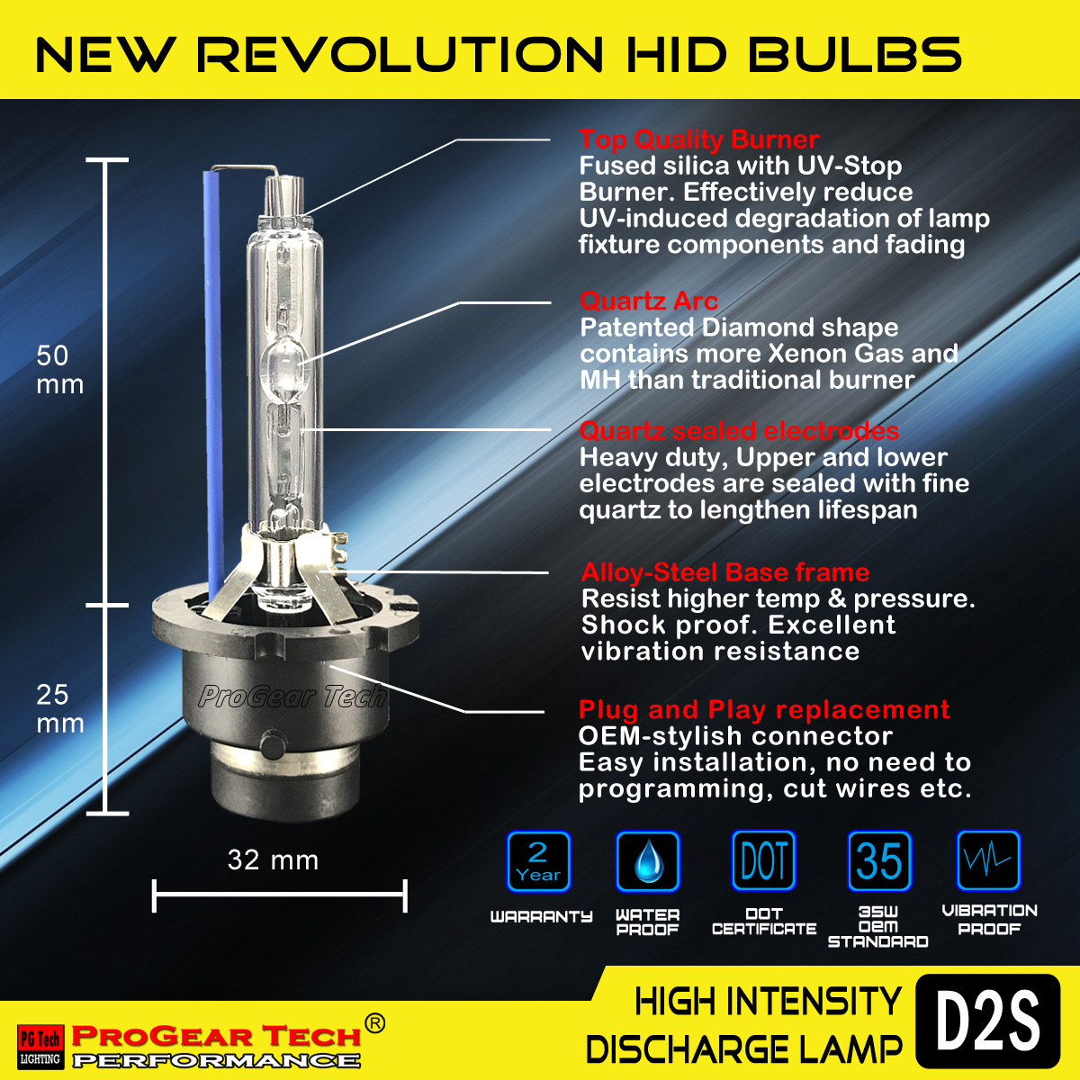 Germany burner ProGear Tech Performance D2S D2R HID Xenon headlight replacement bulbs